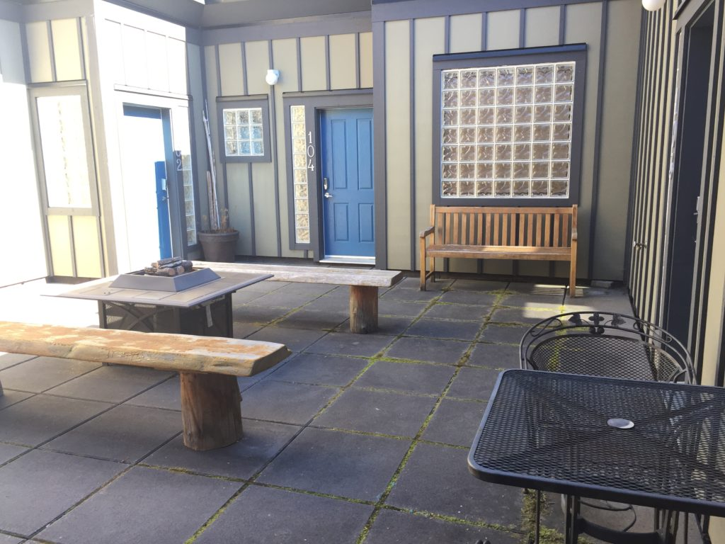 Outdoor meeting area between condos, Rebooting Your Muse, Writers Retreat